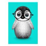Cute Baby Penguin Wearing Eye Glasses on Blue Custom Invites