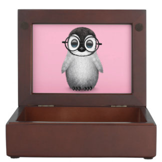 Cute Baby Penguin Wearing Eye Glasses on Pink Keepsake Box
