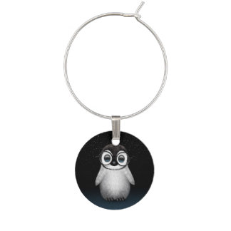 Cute Baby Penguin Wearing Eye Glasses with Stars Wine Charm