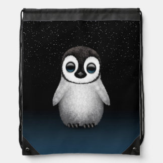 Cute Baby Penguin with Stars Drawstring Bag