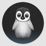 Cute Baby Penguin with Stars Round Sticker