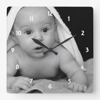 Cute Baby Photo It Your Way Square Wall Clock