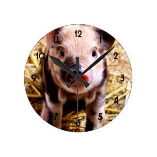 Cute Baby Pig Round Clock