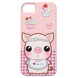 Cute baby piggy and kawaii cupcakes barely there iPhone 5 case