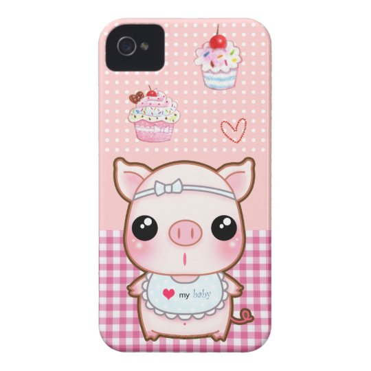 Cute baby piggy and kawaii cupcakes Case-Mate iPhone 4 case