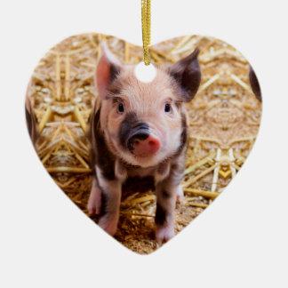 Cute Baby Piglet Farm Animals Babies Ceramic Heart Decoration