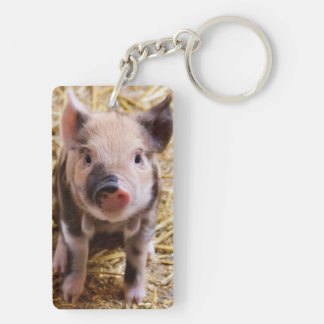 Cute Baby Piglet Farm Animals Barnyard Babies Double-Sided Rectangular Acrylic Key Ring