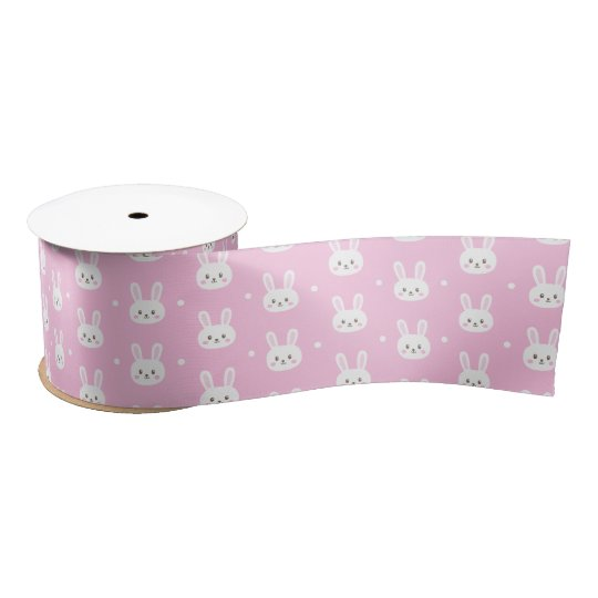 Cute Baby pink fluffy cartoon bunny pattern Satin