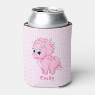 Cute Baby Pink Triceratops Dinosaur Can Cooler