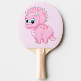 Cute Baby Pink Triceratops Dinosaur Ping Pong Paddle