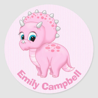 Cute Baby Pink Triceratops Dinosaur Round Sticker