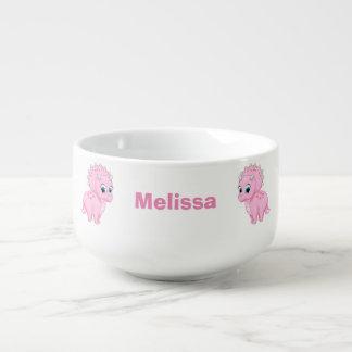 Cute Baby Pink Triceratops Dinosaur Soup Mug