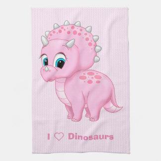 Cute Baby Pink Triceratops Dinosaur Tea Towel