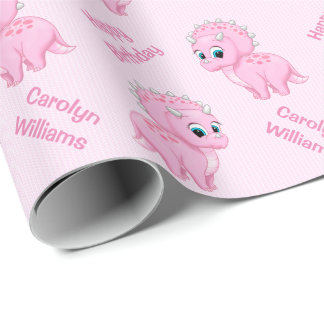 Cute Baby Pink Triceratops Dinosaur Wrapping Paper
