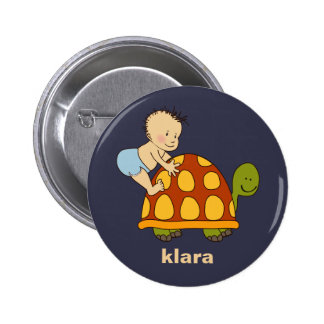 Cute Baby Playing With Tortoise Monogrammed Button