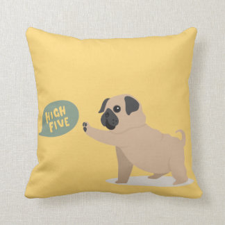 Cute baby pug doing high five Throw Pillow