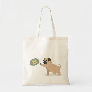 Cute baby pug doing high five Tote Bag