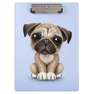 Cute Baby Pug Puppy Dog on Light Blue Clipboard