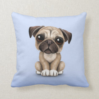 Cute Baby Pug Puppy Dog on Light Blue Cushion