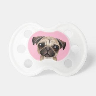 Cute Baby Pug Puppy Dog on Pink Dummy