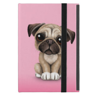 Cute Baby Pug Puppy Dog on Pink iPad Mini Cover