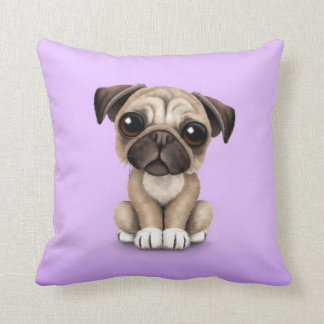 Cute Baby Pug Puppy Dog on Purple Cushion