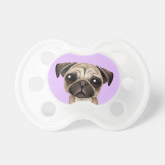 Cute Baby Pug Puppy Dog on Purple Dummy