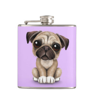 Cute Baby Pug Puppy Dog on Purple Hip Flask