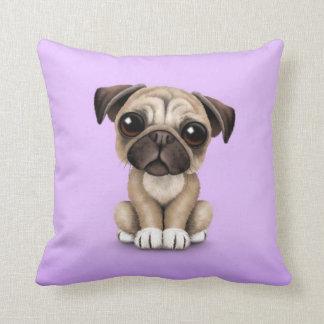 Cute Baby Pug Puppy Dog on Purple Throw Pillow