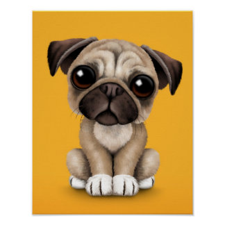 Cute Baby Pug Puppy Dog on Yellow Poster