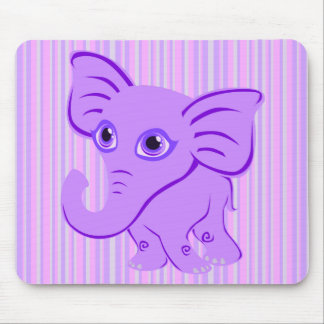 Cute Baby Purple Elephant With Curling Trunk Mouse Pad