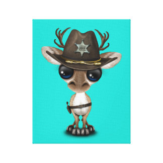 Cute Baby Reindeer Sheriff Canvas Print