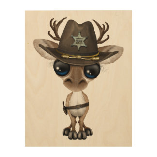 Cute Baby Reindeer Sheriff Wood Prints