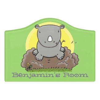 Cute baby rhino green cartoon illustration door sign