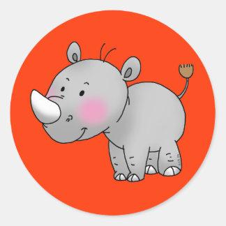 cute baby rhino round sticker