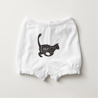 Cute Baby Ruffled Diaper Bloomers with black cat Nappy Cover