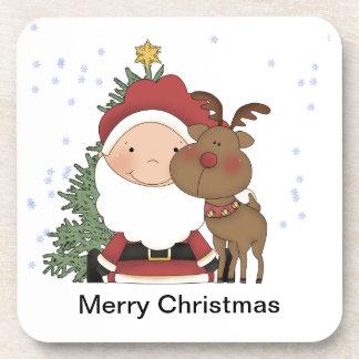 Cute Baby Santa Claus & Reindeer Christmas Beverage Coasters