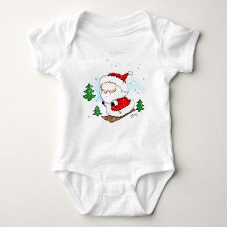 Cute Baby Santa Skiing Baby Bodysuit