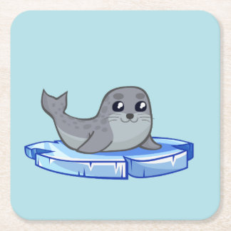 Cute baby seal cartoon kids square paper coaster