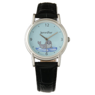 Cute baby seal cartoon name wrist watches
