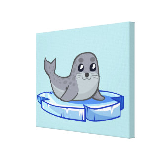 Cute baby seal cartoon nursery canvas print
