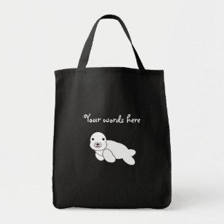 Cute baby seal grocery tote bag