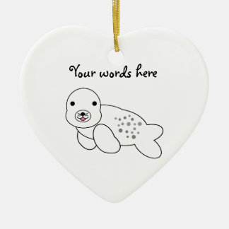 Cute baby seal pup ceramic heart decoration