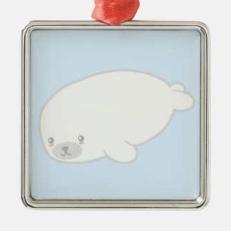 Cute Baby Seal Silver-Colored Square Decoration