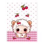 Cute baby sheep with kawaii cherries postcard