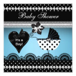 Cute Baby Shower Baby Boy Blue Black Spot 2 Personalized Announcement