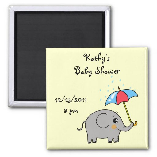 Cute baby shower (baby elephant with an umbrella) magnet