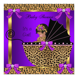 Cute Baby Shower Baby Girl Leopard Purple Pink 13 Cm X 13 Cm Square Invitation Card