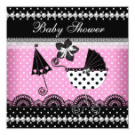 Cute Baby Shower Baby Girl Pink Black Spot Personalised Invites