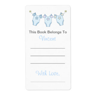 Cute Baby Shower Bookplate - Blue Clothesline